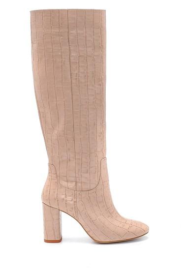 Bej Kadın Deri Kroko Desenli Topuklu Çizme 5638234548