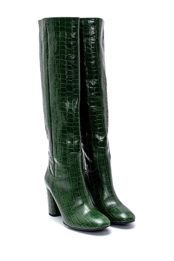 5638237098 Kadın Deri Kroko Desenli Topuklu Çizme