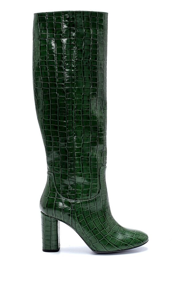 Yeşil Kadın Deri Kroko Desenli Topuklu Çizme 5638237098