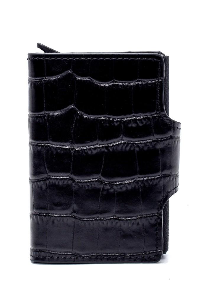 Siyah Erkek Kroko Desenli Kartlık 5638258039