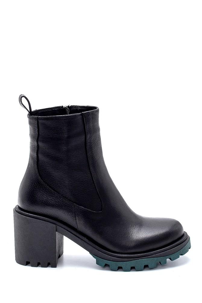 Siyah Kadın Deri Topuklu Bot 5638206019