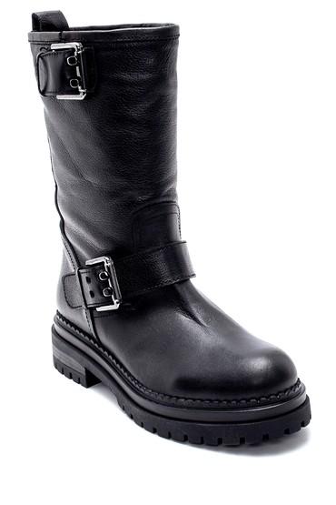 Siyah Kadın Deri Toka Detaylı Çizme 5638206055