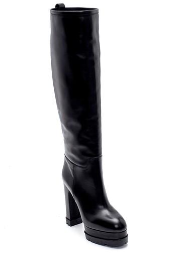 Siyah Kadın Deri Platform Topuklu Çizme 5638206316