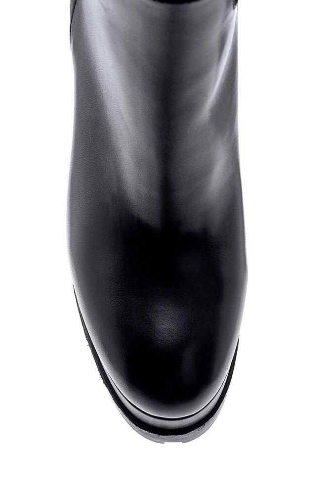 5638206316 Kadın Deri Platform Topuklu Çizme
