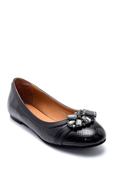 Siyah Kadın Yılan Derisi Desenli Taş Detaylı Babet 5638208841