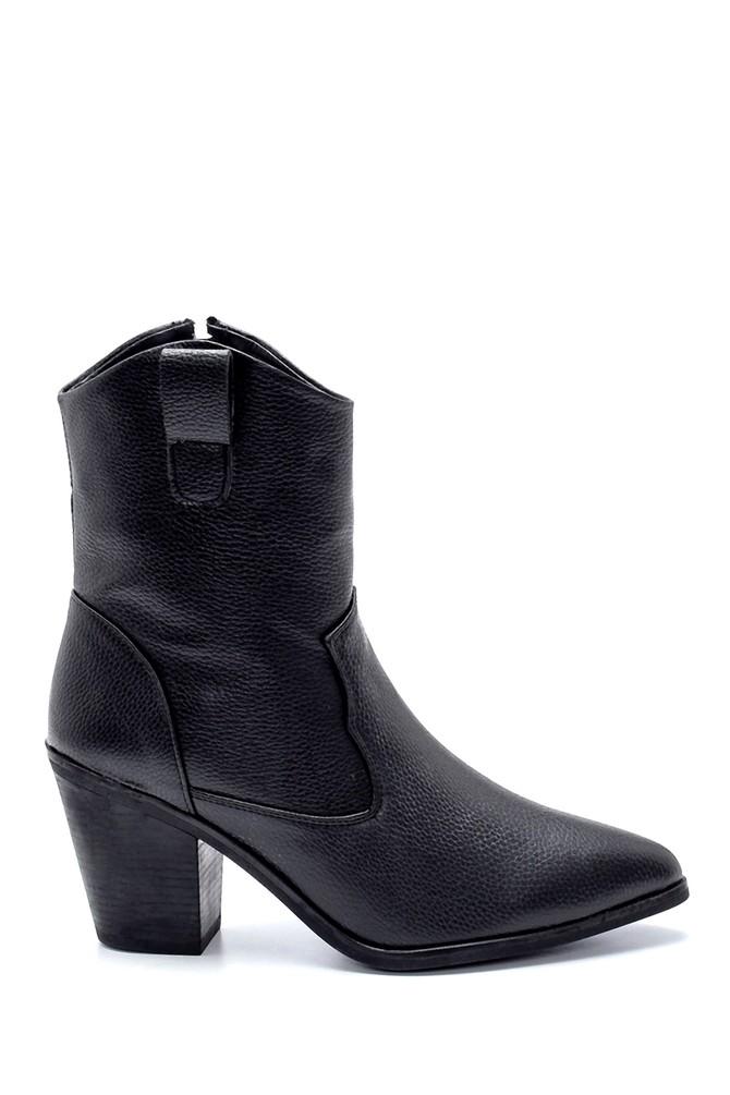 Siyah Kadın Topuklu Kovboy Bot 5638209103