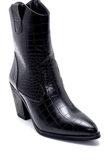 Siyah Kadın Kroko Desenli Topuklu Kovboy Bot 5638209116