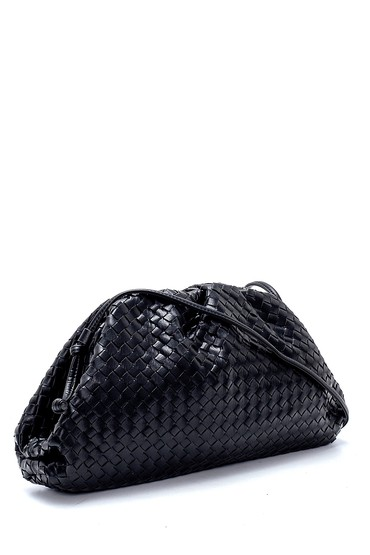 Siyah Kadın Örgü Detaylı Omuz Çantası 5638212208