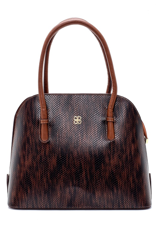 Kahverengi Kadın Kroko Desenli Klasik Kol Çantası 5638202432