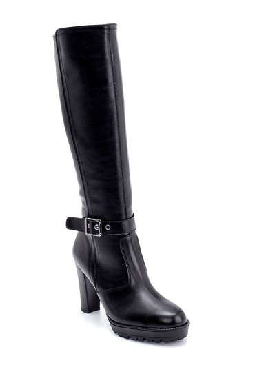 Siyah Kadın Toka Detaylı Topuklu Çizme 5638178546