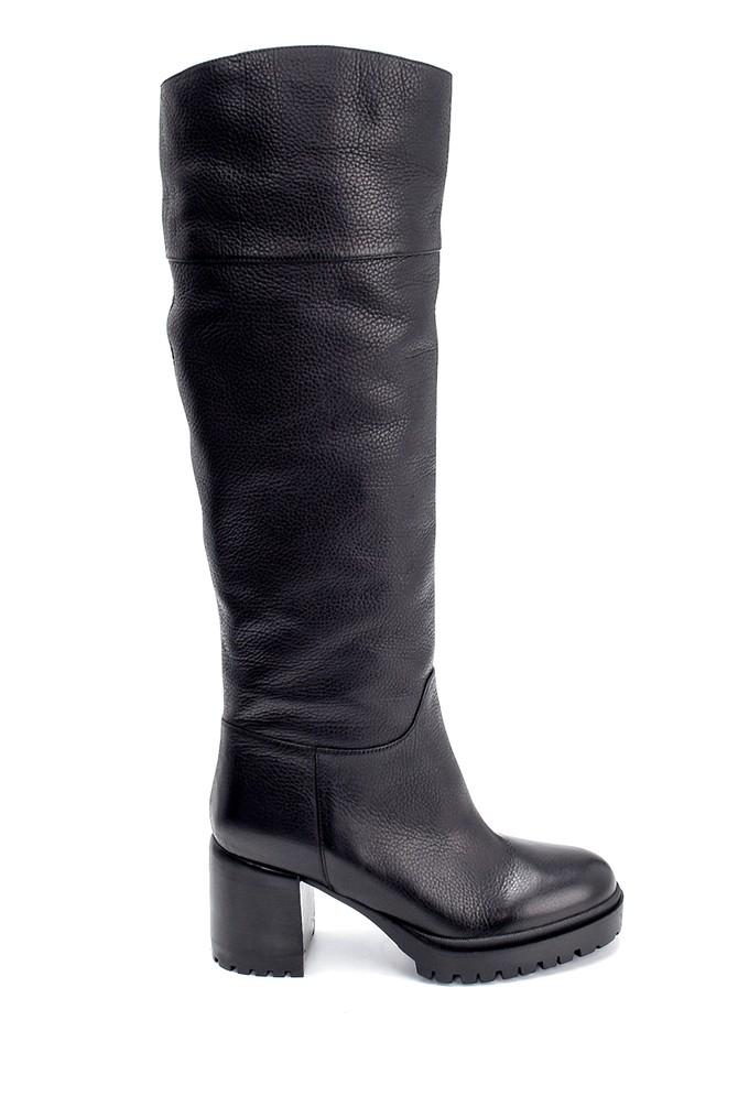 Siyah Kadın Deri Topuklu Çizme 5638206294