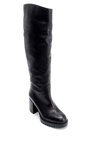 Siyah Kadın Deri Topuklu Çizme 5638206286