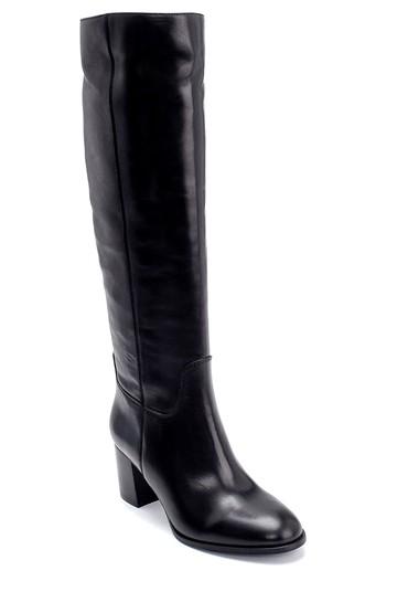 Siyah Kadın Deri Topuklu Çizme 5638206302