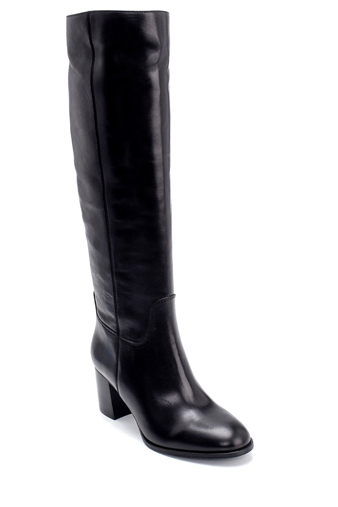 5638206296 Kadın Deri Topuklu Çizme