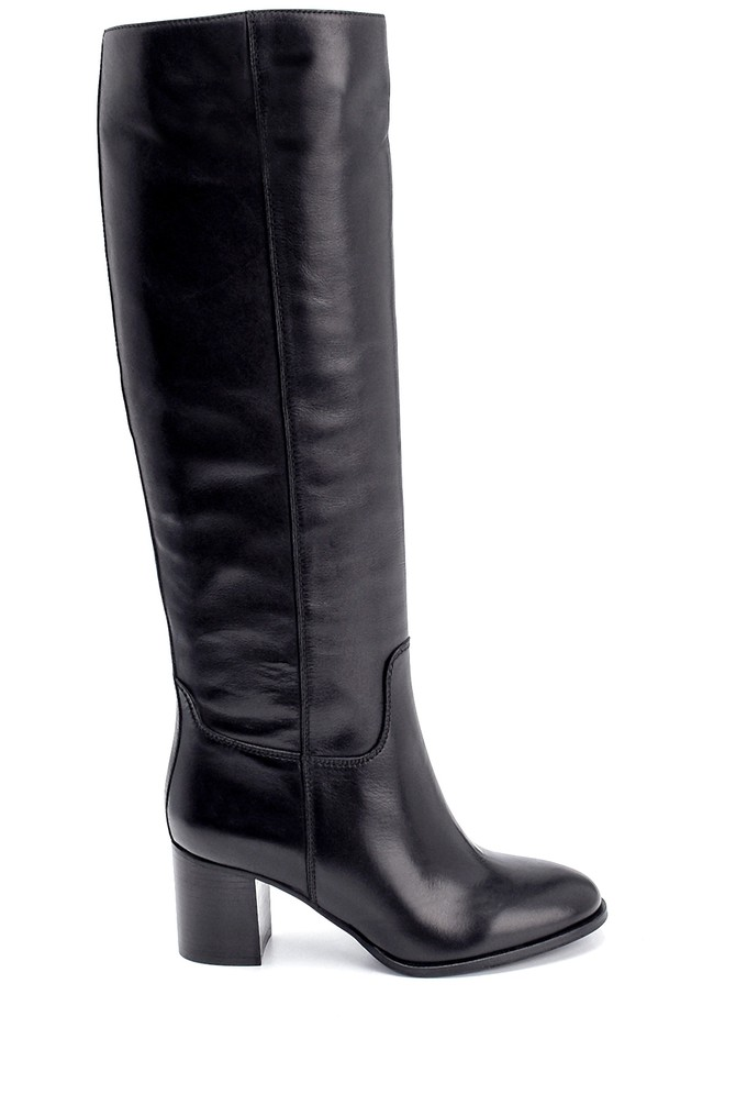 Siyah Kadın Deri Topuklu Çizme 5638206296