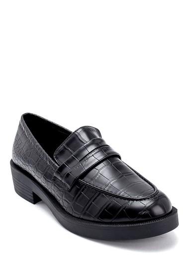Siyah Kadın Kroko Desenli Loafer 5638208938