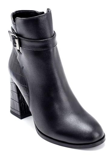 Siyah Kadın Kroko Detaylı Topuklu Bot 5638209136