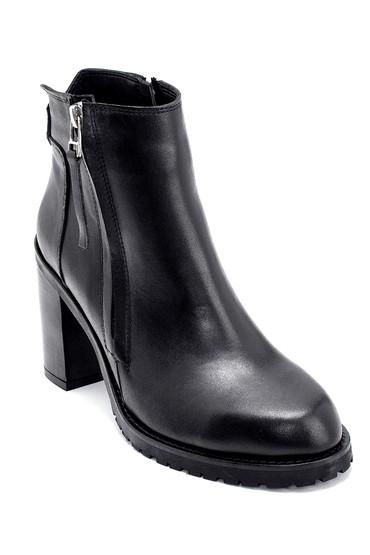 Siyah Kadın Deri Topuklu Bot 5638213326