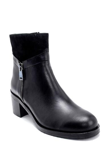 Siyah Kadın Deri Topuklu Bot 5638213495