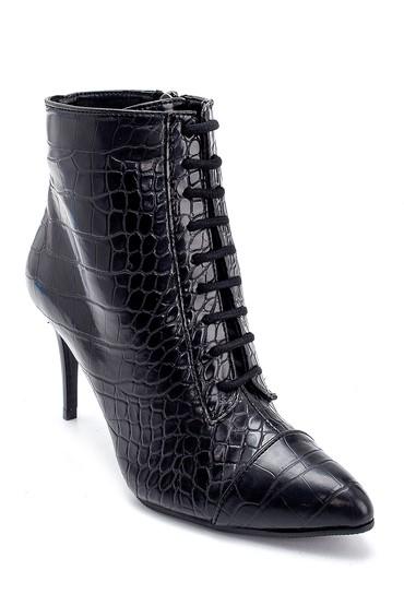 Siyah Kadın Kroko Desenli İnce Topuklu Bot 5638238118