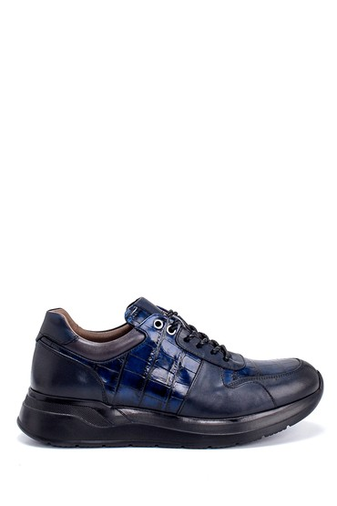 Lacivert Erkek Deri Kroko Desenli Sneaker 5638215027