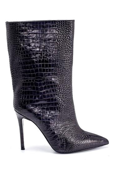 Siyah Kadın Deri Kroko Desenli Topuklu Bot 5638206146