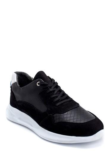 Siyah Erkek Süet Detaylı Deri Sneaker 5638254732