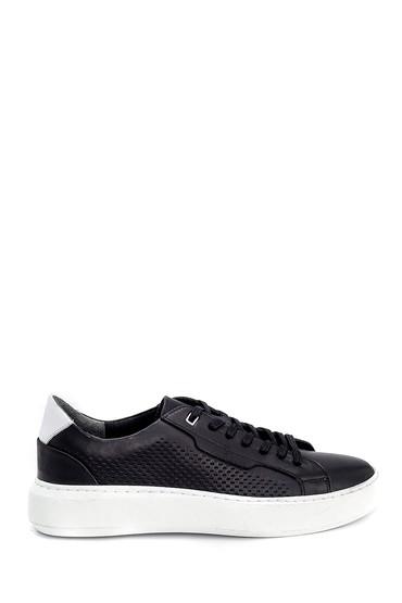 Siyah Erkek Deri Baskılı Sneaker 5638254811