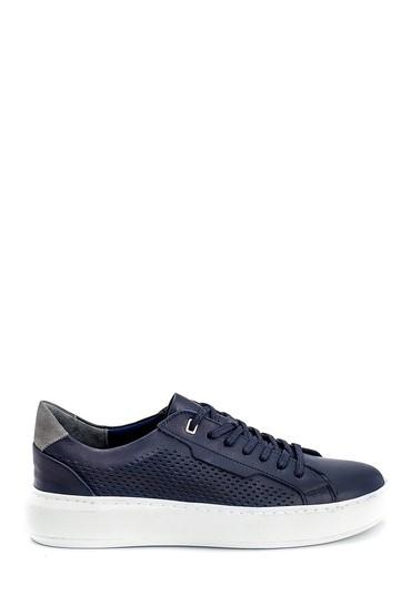 Lacivert Erkek Deri Baskılı Sneaker 5638254797