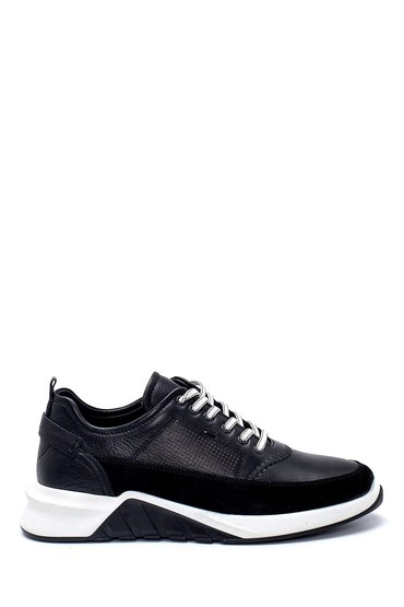 Siyah Erkek Süet Detaylı Deri Sneaker 5638252375