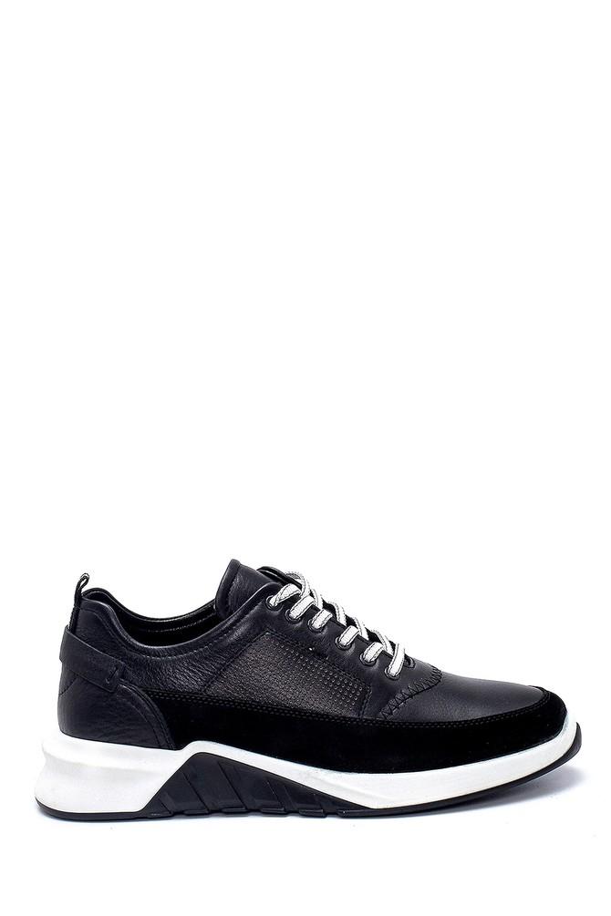 Siyah Erkek Süet Detaylı Deri Sneaker 5638252394