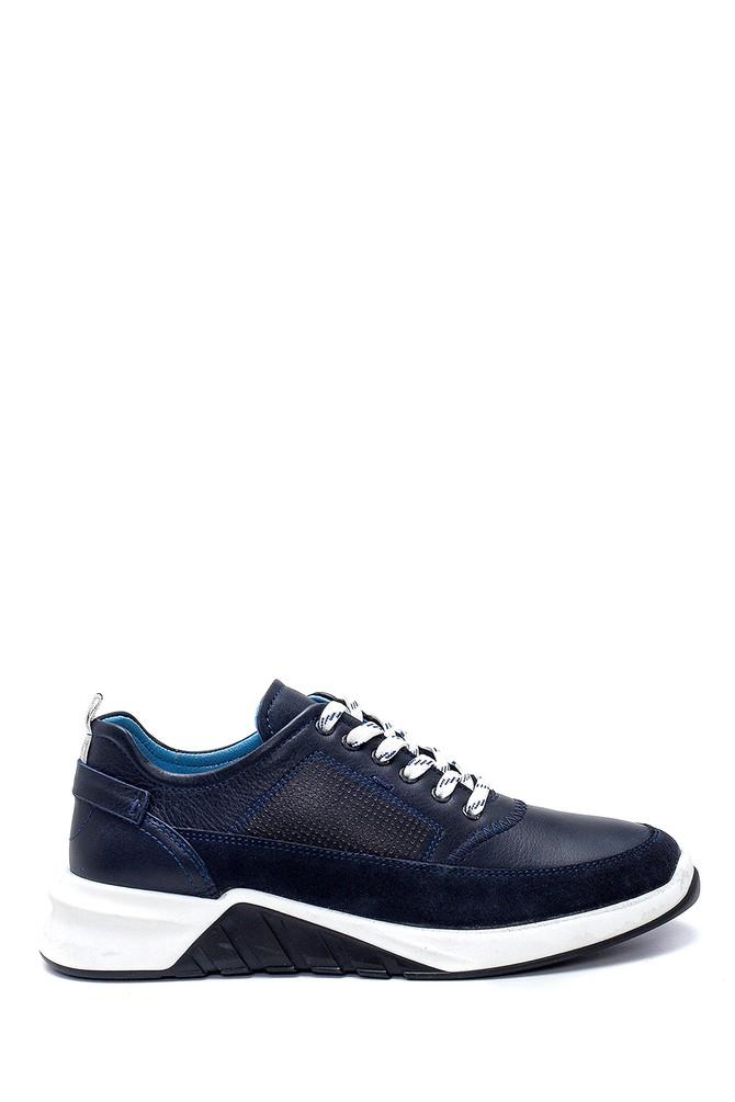 Lacivert Erkek Süet Detaylı Deri Sneaker 5638252384