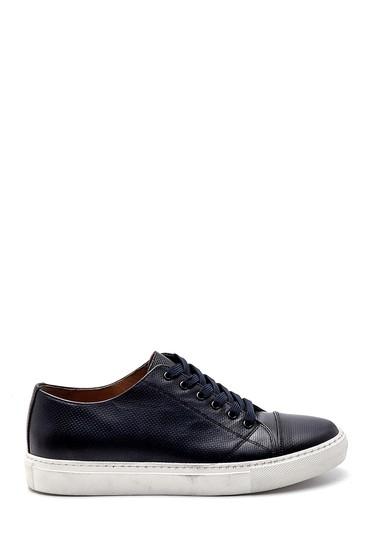 Lacivert Erkek Deri Baskılı Sneaker 5638247578