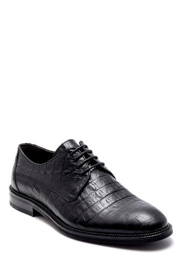 Siyah Erkek Deri Kroko Desenli Klasik Ayakkabı 5638249290