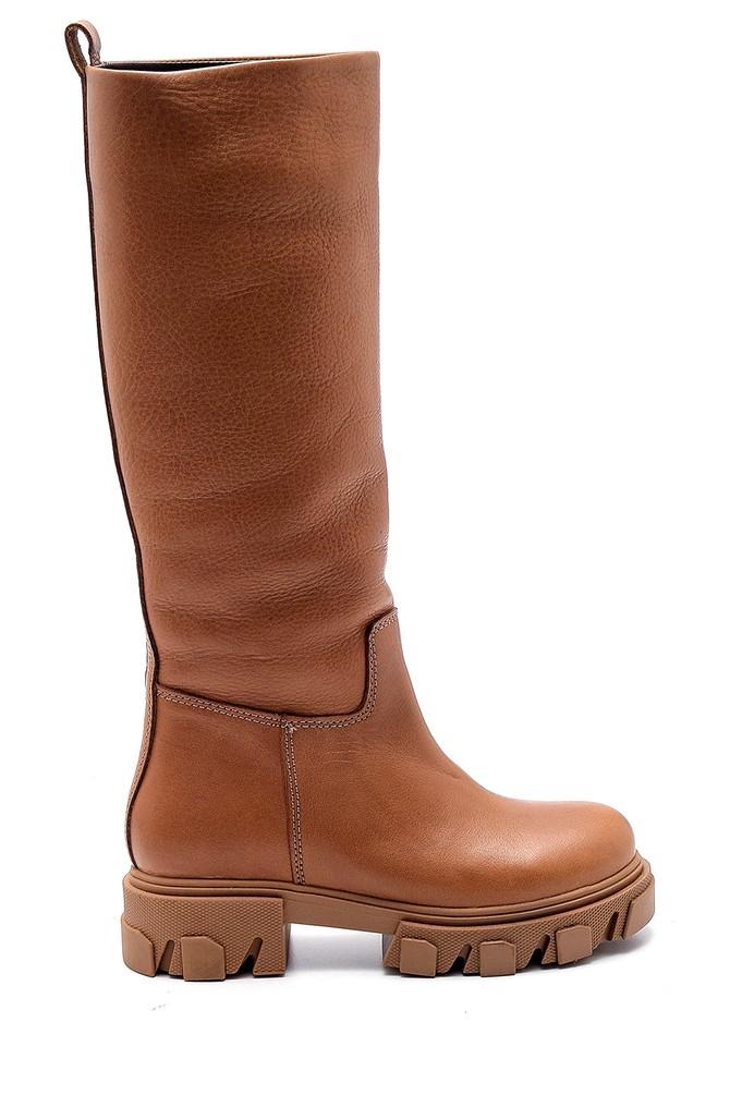Kahverengi Kadın Deri Kalın Tabanlı Çizme 5638282401