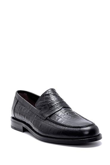 Siyah Erkek Deri Kroko Desenli Loafer 5638249376