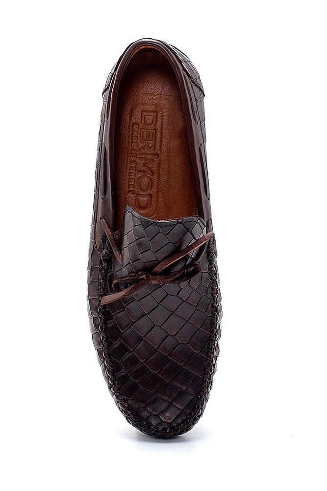 5638251326 Erkek Deri Kroko Desenli Loafer
