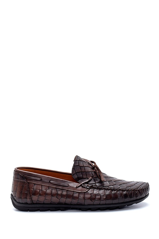 Kahverengi Erkek Deri Kroko Desenli Loafer 5638251326