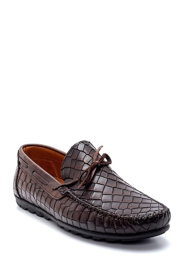 Kahverengi Erkek Deri Kroko Desenli Loafer 5638251315