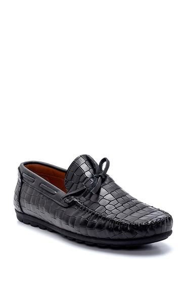 Siyah Erkek Deri Kroko Desenli Loafer 5638251324