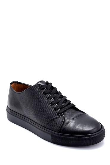 Siyah Erkek Deri Baskılı Sneaker 5638247580