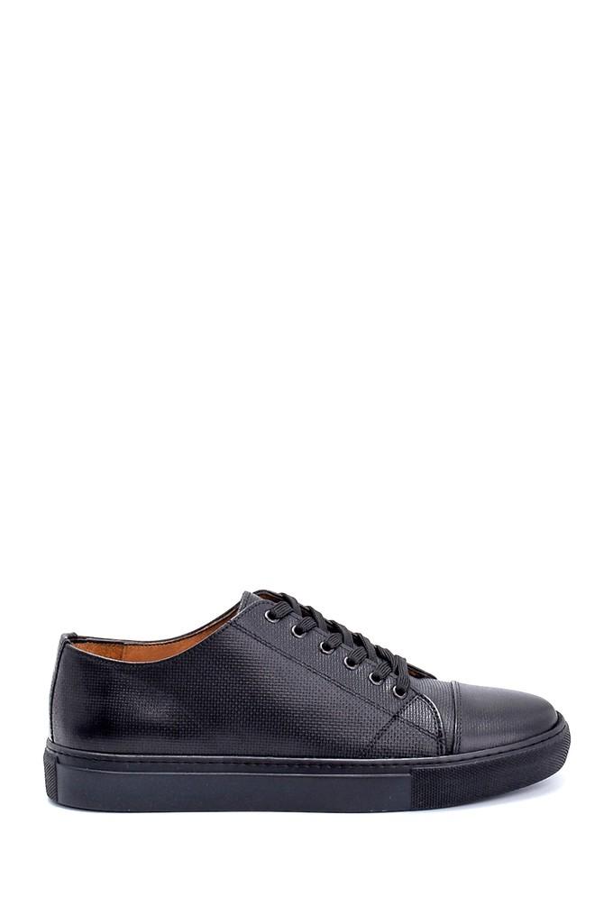 Siyah Erkek Deri Baskılı Sneaker 5638247604