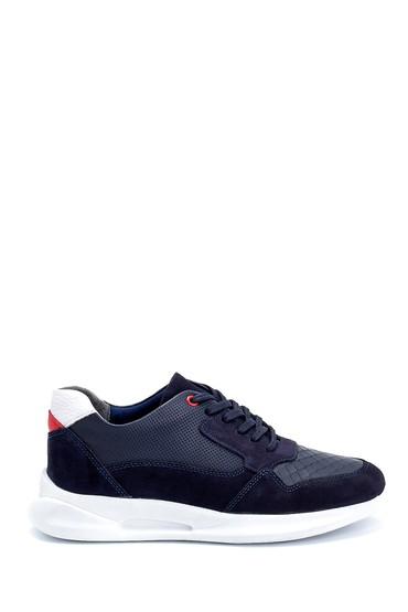 Lacivert Erkek Süet Detaylı Deri Sneaker 5638254727