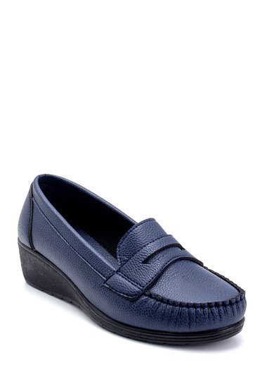 Lacivert Kadın Dolgu Topuklu Loafer 5638280529