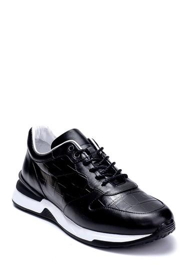 Siyah Erkek Deri Kroko Detaylı Sneaker 5638275755