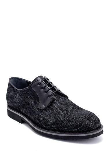 Siyah Erkek Deri Baskılı Ayakkabı 5638275890
