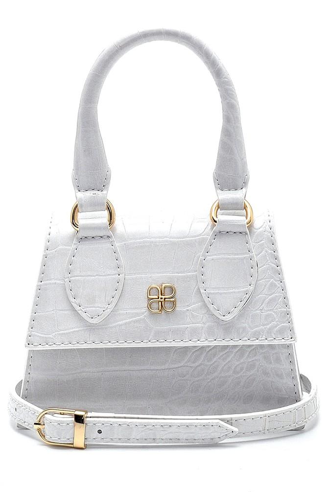 Beyaz Kadın Kroko Desenli Mini El Çantası 5638280024
