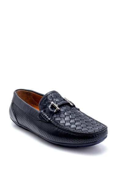 Lacivert Erkek Deri Örgü Detaylı Loafer 5638245633