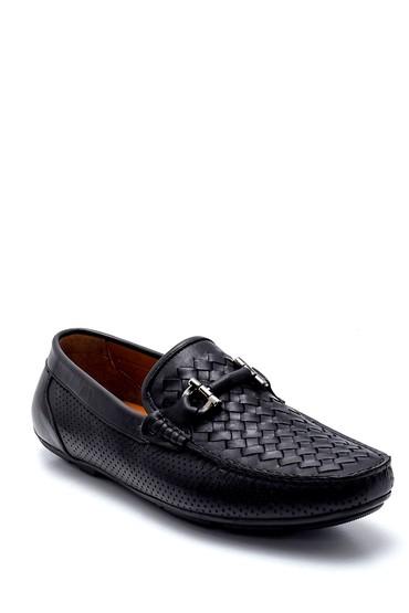 Siyah Erkek Deri Örgü Detaylı Loafer 5638245634