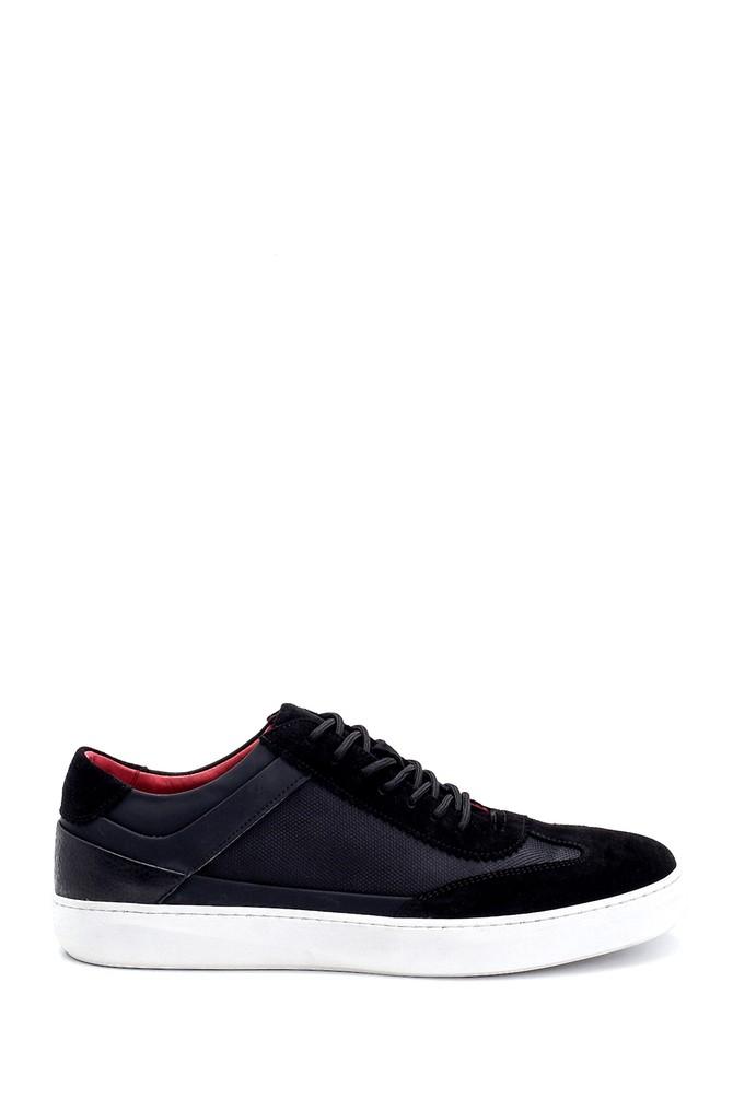 Siyah Erkek Süet Detaylı Deri Sneaker 5638253096